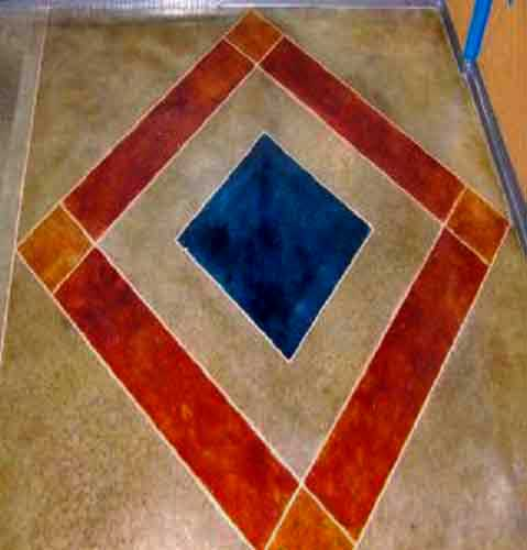 stained colorful concrete diamond floor in eau claire wisconsin