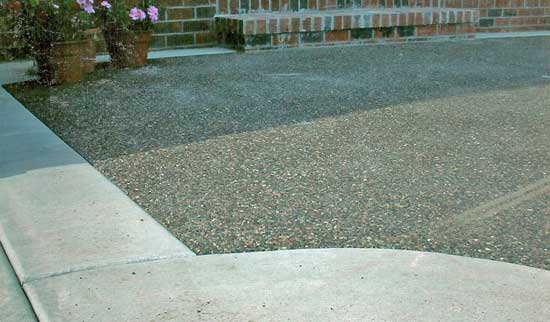 close up of an exposed aggregate concrete driveway done by eau claire concrete contractor