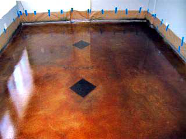 acid stained concrete floor in eau claire wisconsin