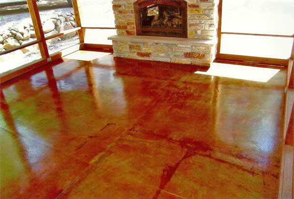 acid stained concrete floor with fireplace by concrete connections in eau claire wi
