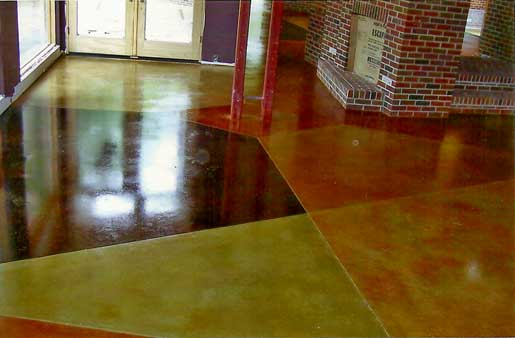 multi colored acid stained concrete floor in eau claire