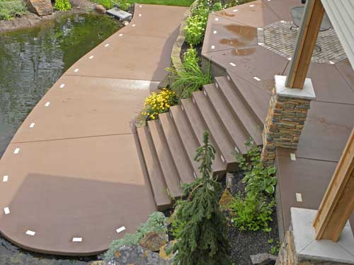brown stained concrete patio in eau claire wisconsin