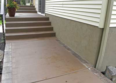 stained concrete steps in wiscon home by concrete connections in eau claire wi