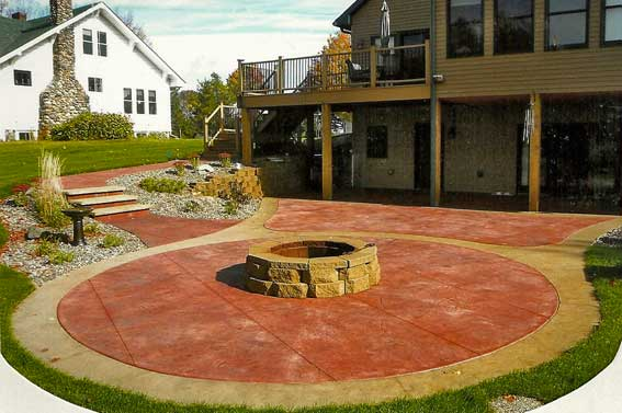 stamped and colored decorative concrete patio by concrete connections in eau claire wi